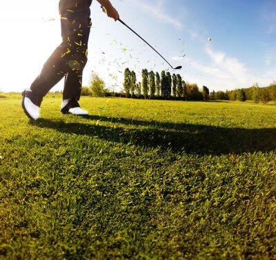Carta da parati Oscillazione di golf sul corso. Golfista esegue un colpo di golf