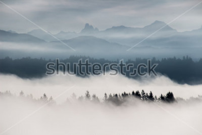 Carta da parati Paesaggio di montagna nebbioso in British Columbia, Canada