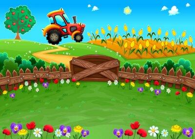 Carta da parati Paesaggio divertente con il trattore e campo di grano.