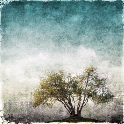 Carta da parati paesaggio Grunge con singolo albero