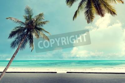 Carta da parati Paesaggio natura di fondo d'epoca di palma di cocco sulla spiaggia cielo blu tropicale con la luce del sole di mattina in estate, filtro effetto retrò