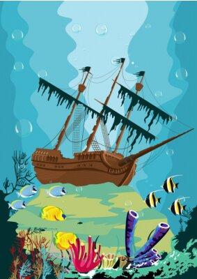 Carta da parati paesaggio sottomarino con vecchia nave pirata
