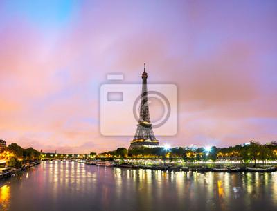 Carta da parati Paesaggio urbano di Parigi con la Torre Eiffel