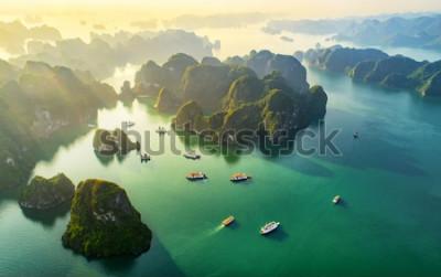 Carta da parati Paesino di pescatori di galleggiamento di vista aerea ed isola della roccia, baia di Halong, Vietnam, Sud-est asiatico. Patrimonio mondiale dell'UNESCO. Crociera in junk boat per la baia di Ha Lon