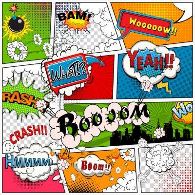 Carta da parati pagina a fumetti diviso per linee con le bolle di discorso, suoni effetto. Retro sfondo mock-up. modello Comics.