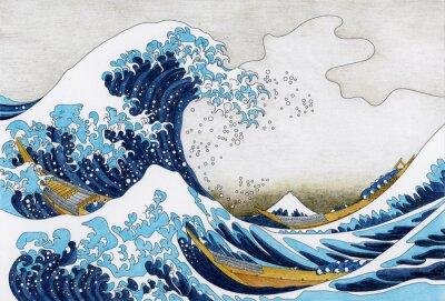 Carta da parati Pagina da colorare adulto di Hokusai The Great Wave Of Kanagawa