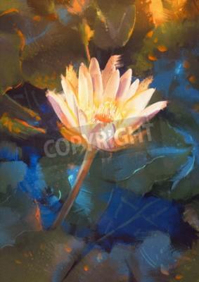 Carta da parati painting of beatiful yellow lotus blossom,single waterlily flower blooming on pond