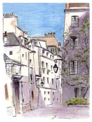 Carta da parati Painting of street of european city Paris
