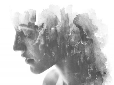 Carta da parati Paintography. Double exposure. Close up of an attractive model combined with hand drawn ink and watercolor painting with overlapping brushstroke texture, black and white