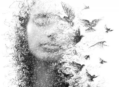 Carta da parati Paintography. Double Exposure portrait of an elegant woman with closed eyes combined with hand made pencil drawing of a flock of birds flying freely resembling disintegrating particles of her being
