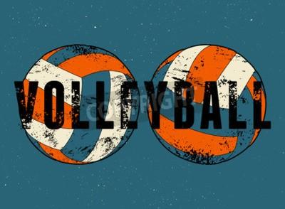 Carta da parati Pallavolo tipografica del manifesto stile d'epoca grunge. Retro illustrazione vettoriale.