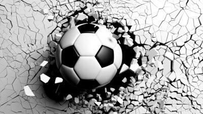 Carta da parati Pallone da calcio che si rompe con forza attraverso un muro bianco. Illustrazione 3D