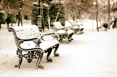 Carta da parati Panchina nel parco d'inverno nevoso