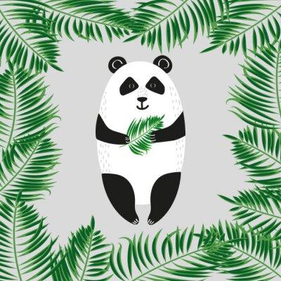 Carta da parati Panda Bear Carino. Illustrazione vettoriale.