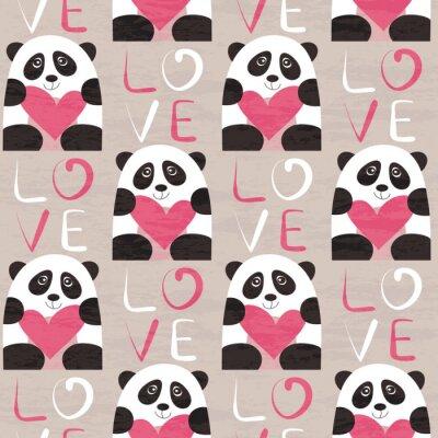 Carta da parati Panda con il cuore seamless