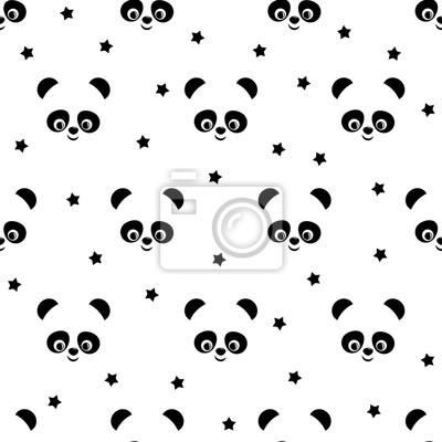 Panda Con Le Stelle Seamless Su Sfondo Bianco Vettore Sfondo Carta