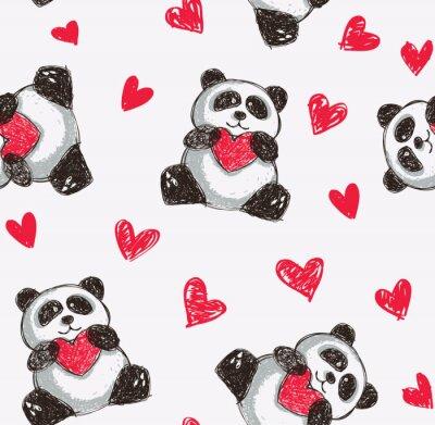 Carta da parati Panda holding heart sfondo trasparente
