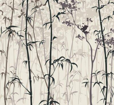 Carta da parati Panda nella foresta di bambù