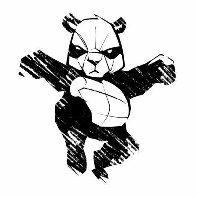 Carta da parati Panda Sketch arti marziali