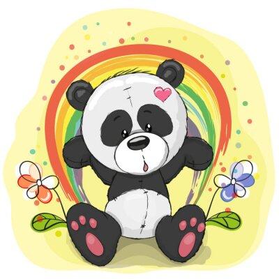 Carta da parati Panda with rainbow