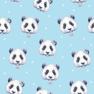 Carta da parati Pandas su sfondo azzurro. Seamless pattern. disegno ad acquerello. illustrazione per bambini. manufatto