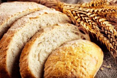 Carta da parati Pane a fette di pane bianco con le orecchie di grano