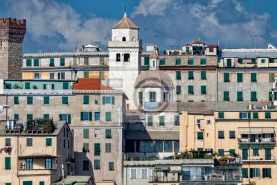 Carta Da Parati Genova.Panorama Cittadino Della Citta Di Genova Dal Porto Marittimo Carta