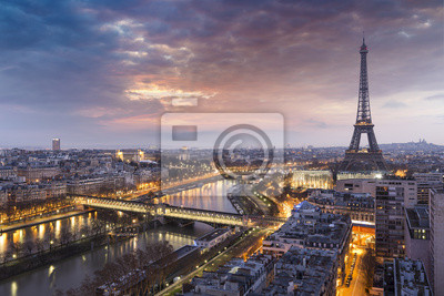 Carta da parati Panorama de la ville de Paris avec la Tour Eiffel