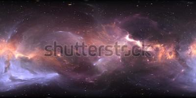 Carta da parati Panorama della nebulosa spaziale a 360 gradi, proiezione equirettangolare, mappa ambientale. Panorama sferico HDRI. Spazio sfondo con nebulosa e stelle. Illustrazione 3D