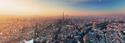Carta da parati Panorama di Parigi al tramonto