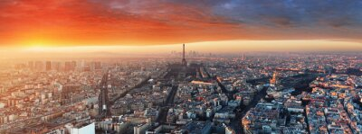 Carta da parati Panorama di Parigi al tramonto, paesaggio urbano