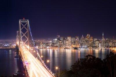 Carta da parati Panorama di San Francisco Bay Bridge e di notte