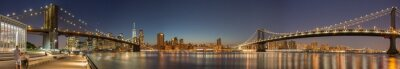 Carta da parati Panoramic View Manhattan Bridge, Brooklyn Bridge and Manhattan Skyline at night