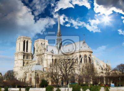 Carta da parati Panoramica della Cattedrale di Notre Dame dalla riva del riv