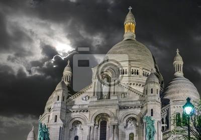 Carta da parati Parigi, 12 dicembre: Cattedrale del Sacro Cuore vista esterna in Montmartr