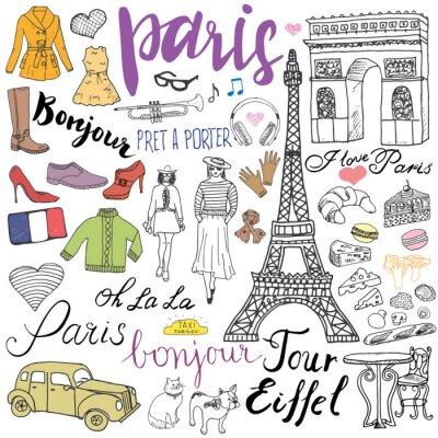 Carta da parati Parigi doodles elementi. Hand drawn set con bar Torre Eiffel allevati, arco di taxi Triumf, elementi di moda, gatto e bulldog francese. Disegno di raccolta Doodle e lettere, isolato su bianco