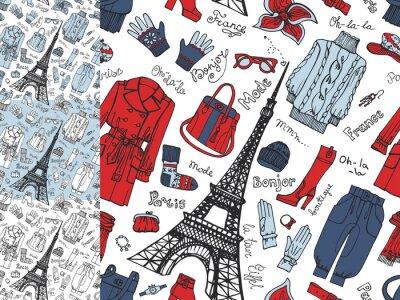 Carta da parati Parigi Fashion.Clothing seamless modello doodle set.Tricolor