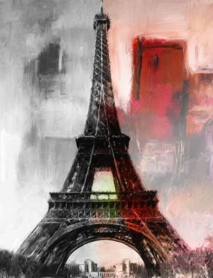 Carta da parati Parigi Gemälde Eiffelturm Eifelturm Bild Kunst Ölgemälde