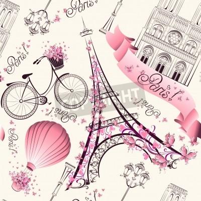 Carta da parati Parigi simboli senza motivo. Viaggio romantico a Parigi. Vettore