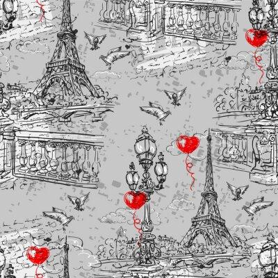 Carta da parati Parigi. Vintage seamless 3