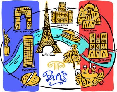 Carta da parati Paris Flag Map
