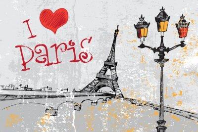 Carta da parati Paris grunge con la torre Eiffel