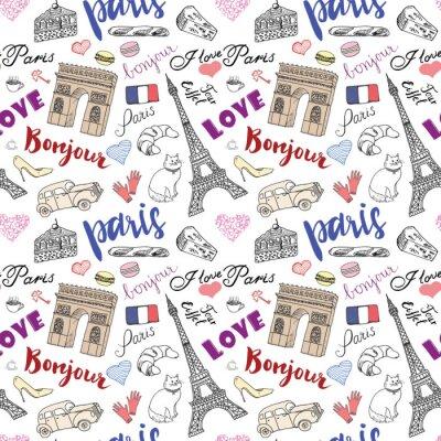 Carta da parati Paris seamless con elementi di schizzo disegnati a mano - eiffel arco torre Triumf, articoli di moda. Disegno Doodle illustrazione vettoriale, isolato su bianco