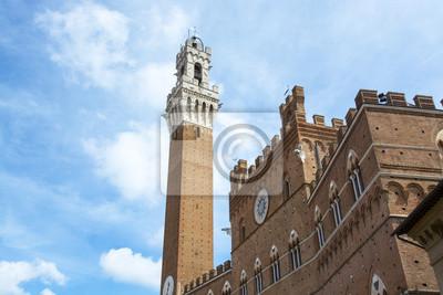 Carta da parati Particolare della Torre del Mangia e Piazza del Campo, Siena, Tusc