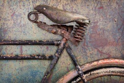 Carta da parati Particolare di una antica bicicletta arrugginita con seduta in pelle
