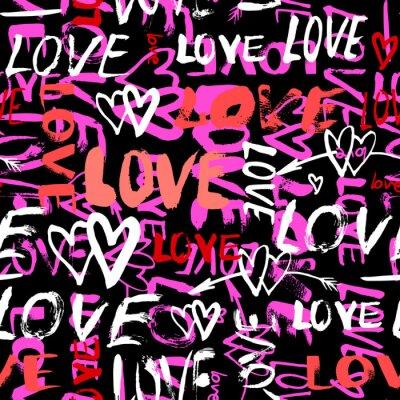 Carta da parati Pattern con dipinti a mano le parole amore