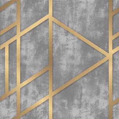 Carta da parati pattern gray concrete with golden geometric lines