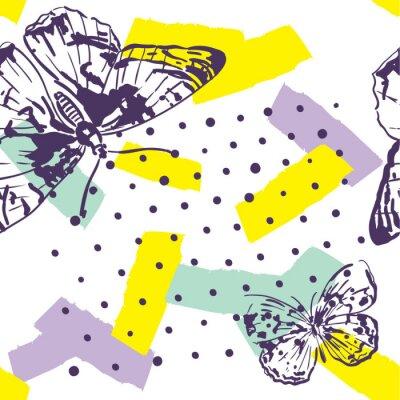 Carta da parati Pattern ripetuto con insetti. Modello alla moda con stile disegnato di farfalle in mano. Sfondo per tessile, produzione, copertine di libri, sfondi, stampa o carta da regalo.