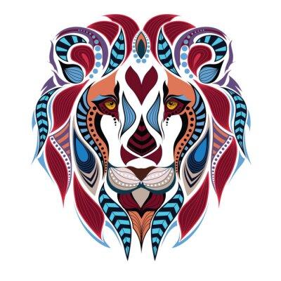 Carta da parati Patterned testa colorata del leone. / Disegno / totem / tatuaggio indiano africano. Può essere usato per la progettazione di una t-shirt, borsa, cartoline e poster.