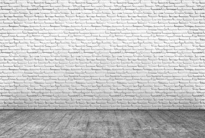 Carta da parati pavimento in cemento e muro in mattoni bianchi